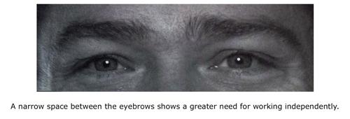 Narrow space between brows