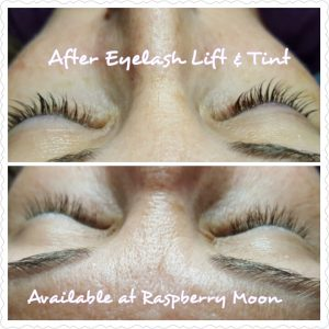 Before (bottom) and After for our eyelash lift and tint