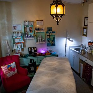 The treatment room at Raspberry Moon Skin Therapy