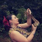 Shannon with Nagini -a pastel ball python